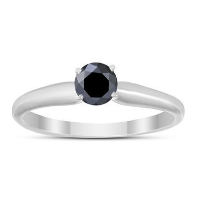 1/4 Carat Genuine Round Black Diamond Solitaire Ring in 14K White Gold