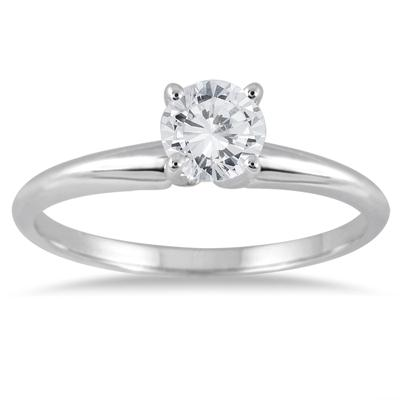 1/3 Carat Round Diamond Solitaire Ring in 14K White Gold (Premium Quality)