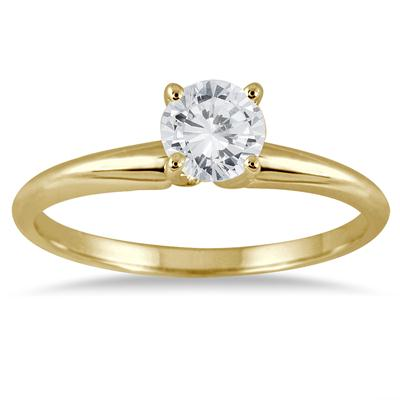 1/3 Carat Round Diamond Solitaire Ring in 14K Yellow Gold (Premium Quality)