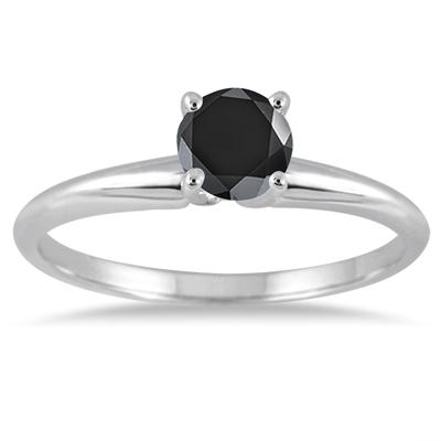 0.33 Carat Round Black Diamond Solitaire Ring in 14k White Gold