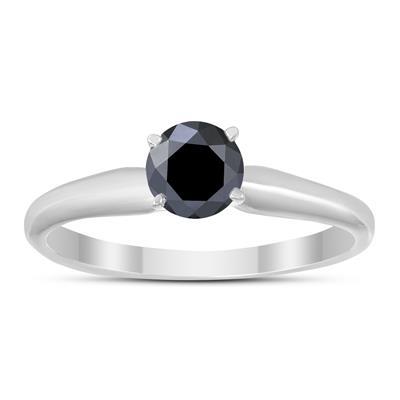 1/3 Carat Round Black Diamond Solitaire Ring in 14k White Gold