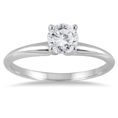 AGS Certified 1/3 Carat Round Diamond Solitaire Ring in 14K White Gold