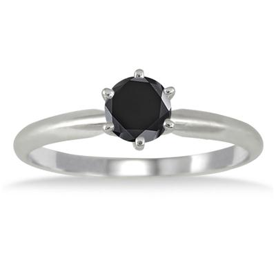 1/2 Carat Round Black Diamond Solitaire Ring in 14k White Gold