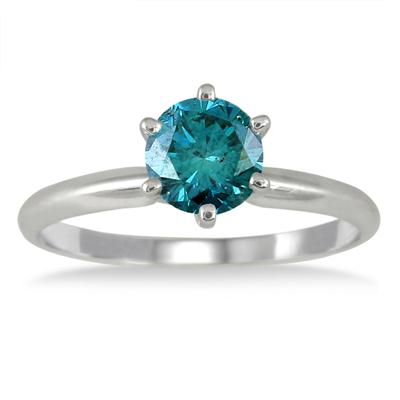 Image result for 3/4 CARAT ROUND BLUE DIAMOND SOLITAIRE RING IN 14K WHITE GOLD