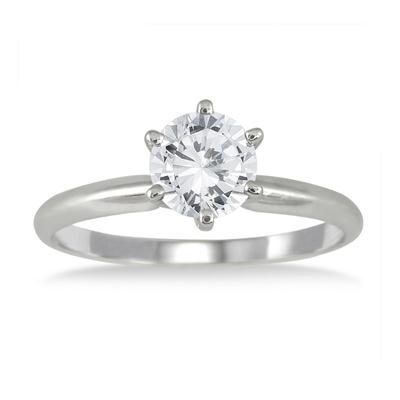 AGS Certified 3/4 Carat Round Diamond Solitaire Ring in 14K White Gold (H-I Color, I1-I2 Clarity)