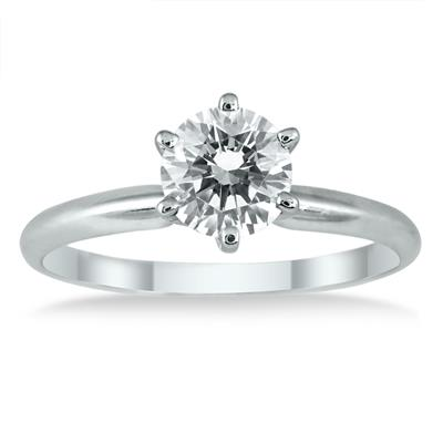 AGS Certified 3/4 Carat Round Diamond Solitaire Ring in 14K White Gold (J-K Color, I2-I3 Clarity)