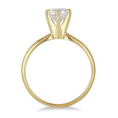 AGS Certified 3/4 Carat Round Diamond Solitaire Ring in 14K Yellow Gold (H-I Color, I1-I2 Clarity)