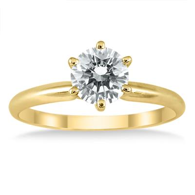 AGS Certified 3/4 Carat Round Diamond Solitaire Ring in 14K Yellow Gold (I-J Color, I2-I3 Clarity)