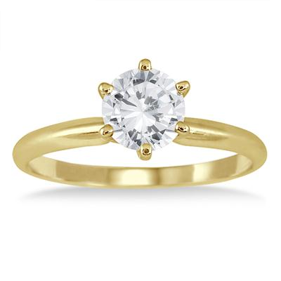 1 Carat Round Diamond Solitaire Ring in 14K Yellow Gold (Premium Quality)