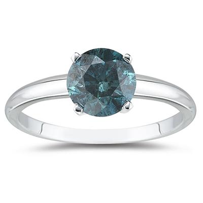 1.00 Carat Round Blue Diamond Solitaire Ring in 14k White Gold