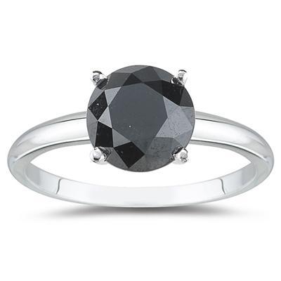 1.25 Carat Round Black Diamond Solitaire Ring in 14k White Gold
