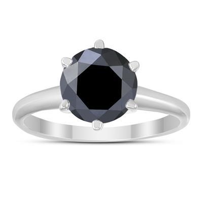 2 Carat Genuine Round Black Diamond Solitaire Ring in 14K White Gold