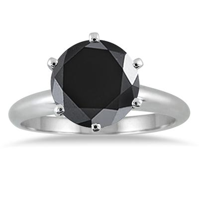 2 1/2 Carat Round Black Diamond Solitaire Ring in 14K White Gold