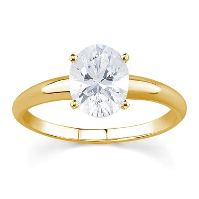 3/4 ct.tw Oval Diamond Solitaire Ring in 14k Yellow Gold