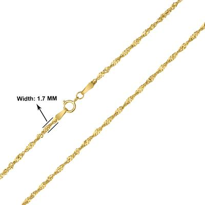 10K Yellow Gold 1.7mm Singapore Chain with Spring Ring Clasp - 18 Inch