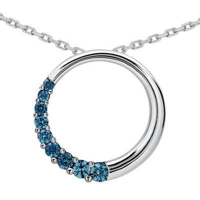 3/4 CTW Diamond Circle Journey Pendant in 10K White Gold