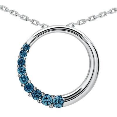 1 Carat TW Blue Diamond Circle Journey Pendant in 10K White Gold