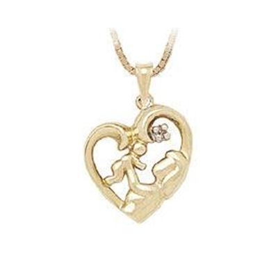 Baby with Mother Diamond Heart Pendant
